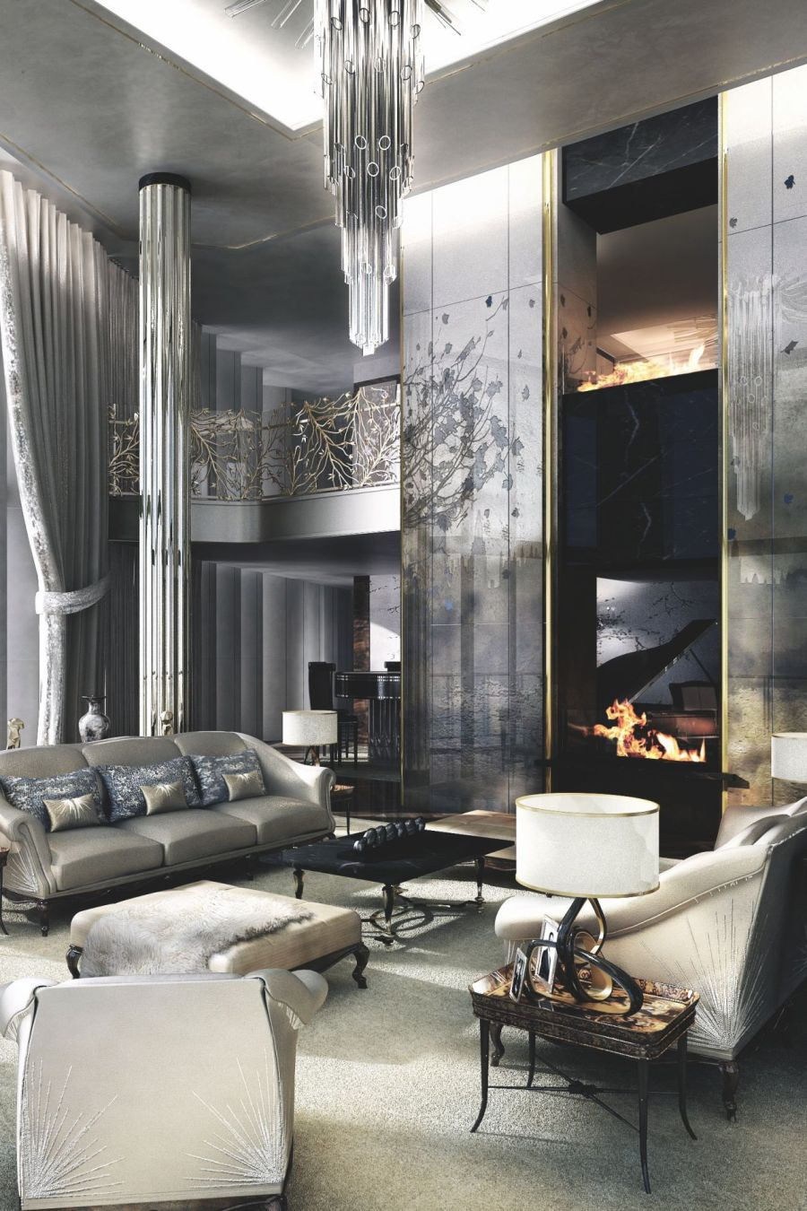 living room interior decorating ideas electric fireplace 21 gray design for a glamorous