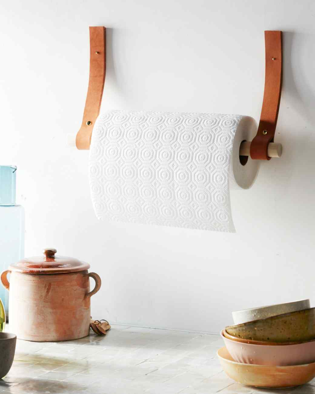kitchen paper towel holder cabinets black stylish projects you can do with leather straps and