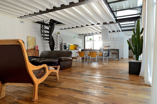 A beautifully restored loft in a former garage building