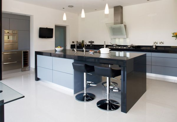 modern kitchen stools long light island home designs view in gallery open plan and living area with a