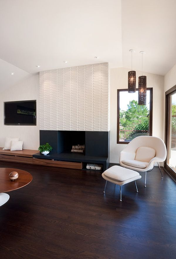 contemporary living rooms with fireplaces kitchen room extension ideas 21 modern characteristics and interior decor fireplace blending into the minimalist brown accent wall view