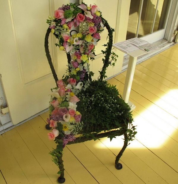 indoor hanging chair with stand small computer turn old chairs into beautiful flower beds and planters