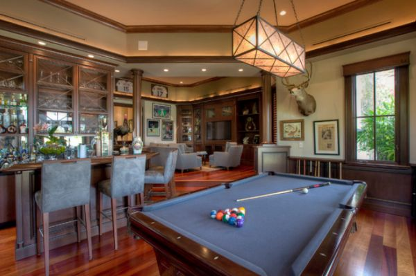 Billiard Room Wall Decor Displaying With Red Sectional Sofa Small Table Movie Decorating Ideas Simplistic Lighting
