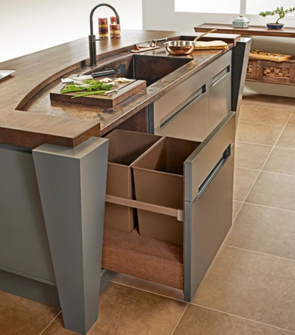 trash cans kitchen cabinet patterns pull out bins both functional and aesthetical
