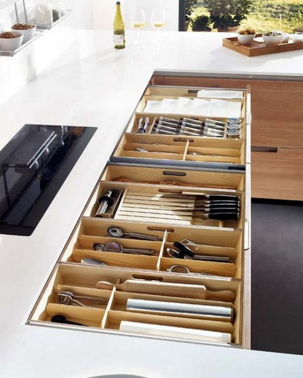 Neatly Organized Kitchen Drawer Knives Spoons