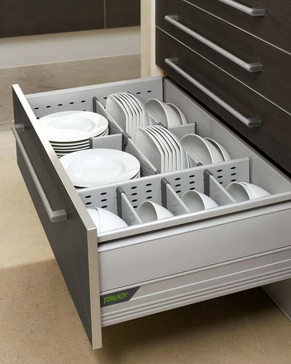 kitchen plates counter height table 15 drawer organizers for a clean and clutter free decor