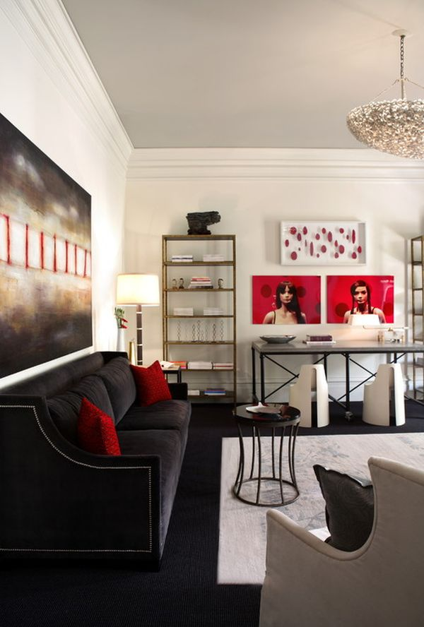 Red Black And White Living Room Decor Part - 39: Red Black And White Living Room Decorating Ideas Modern House