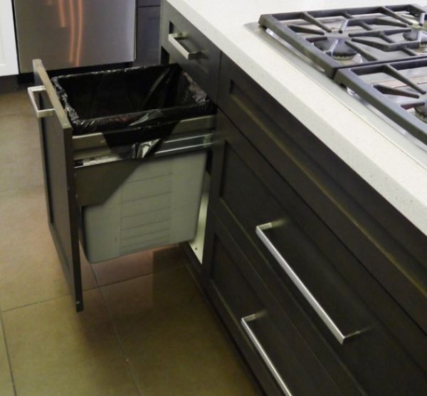 kitchen trash bin cooking in the games pull-out bins, both functional and aesthetical