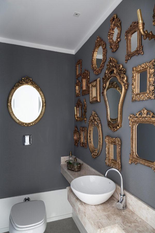 Metallic Accent Walls Gold Framed Mirrors in Bathroom Basin Sink Dark Wall Luxury