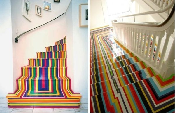 Rainbow Stairs – A Simple Way Of Adding Color And Dynamism To A Décor | Multi Coloured Stair Carpet | American Style | Candy Stripe | Interior Design | Textured | Residence