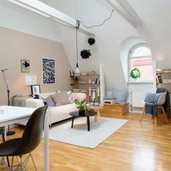 Small Living Room With Dining Table Ideas Sectionals Sets 42 Square Meter Attic Apartment Subtle Pops Of Color