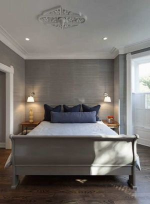 bedroom grey stylish homedit trendy wall patterns accent gray paper textured texture walls master bed grasscloth decorating silver decor simple