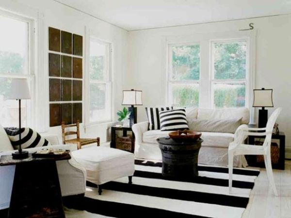 black and white themed living room ideas design for rooms with corner fireplace decorating bold stripes inspiration accenting the