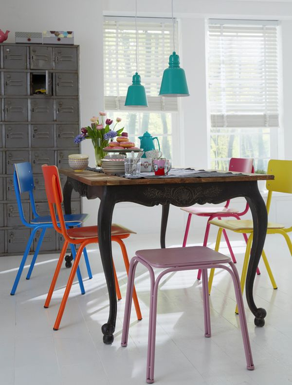 multi colored dining chairs