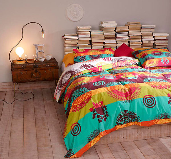 Headboards Bedroom Bed Books Stacked Piles Of Boho Eclectic DIY