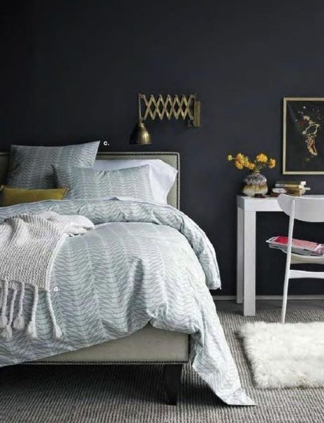 dark bedroom wall idea Dark (and Surprisingly Soothing) Bedroom Walls