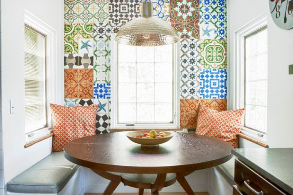 Patchwork Tiles Big and Bright Wall Design in Breakfast Nook