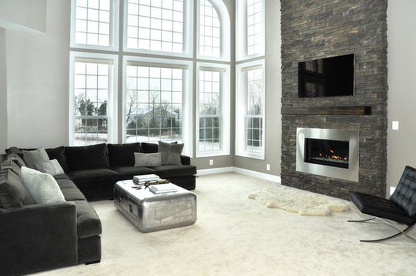 living room fireplaces reclining leather furniture sets 100 fireplace design ideas for a warm home during winter featuring modern mounted on the wall view in gallery