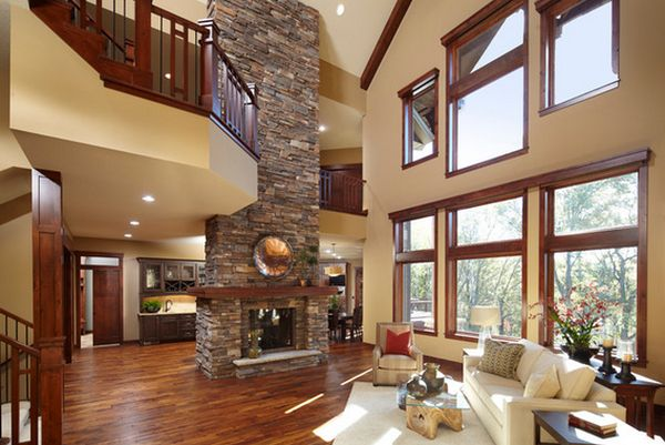 High Ceiling Designs Living Room With Picture Windows And Daybed Side Chairs Coffee Table