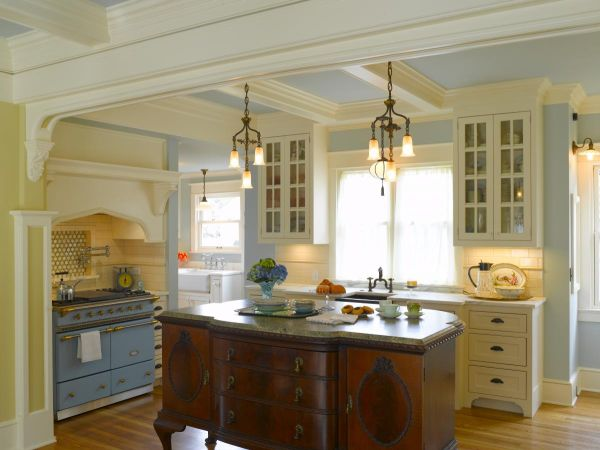 antique farmhouse kitchen cabinets Cream and Blue-Hued Rooms: Ideas and Inspiration