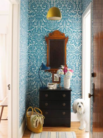 Wallpaper Designs Entry Hall with Turquoise Teal Blue Damask Pattern Wallpaper and Black End Table