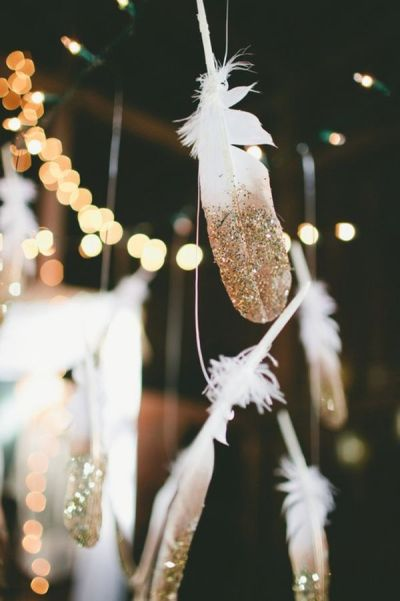 Gift Exchange Party Swaps DIY Feather Garland Dipped Gold Glitter White Lights Christmas Time Holiday Season Home Decor