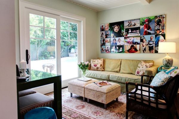 living room decorating ideas picture frames orange accent chairs photo collages without and inspiration