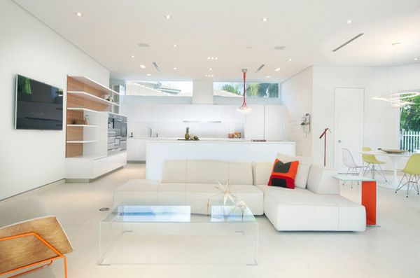 no coffee table living room white rugs for 21 chic acrylic tables their stylish versatility in a virtually all space full of contemporary furniture and mod pops bold color an maintains the sense airiness without