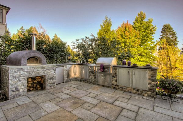outdoor kitchen oven large sink designs featuring pizza ovens fireplaces and other view in gallery this mediterranean