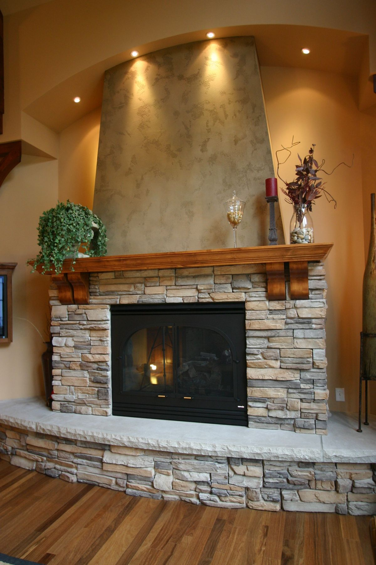 Stacked Stone Fireplaces With Mantle