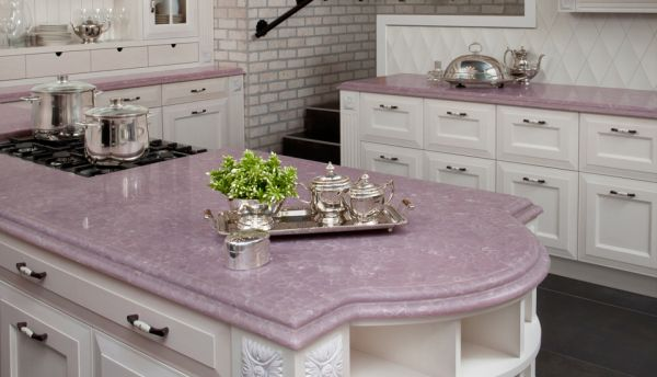 pink countertops kitchen modern tile lavender accents: for every girl's space