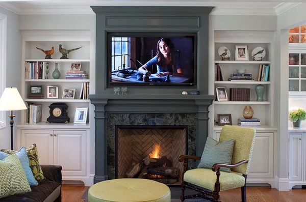 living room mantel grey and yellow curtains wood fireplace mantels a cozy focal point element for the molding