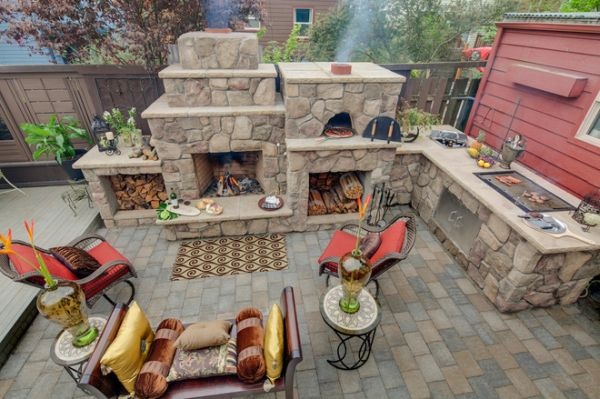 outdoor kitchen oven copper utensil holder designs featuring pizza ovens fireplaces and other