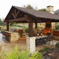 Covered Outdoor Kitchen Banquette Table Designs Featuring Pizza Ovens Fireplaces And Other