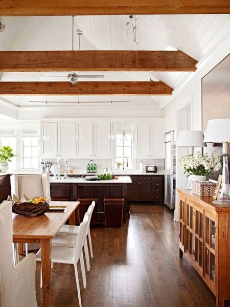 open kitchen with ceiling beams Stylish Ceiling Designs That Can Change The Look Of Your Home