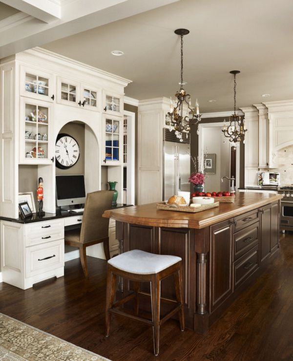 kitchen desk glass cabinets 20 clever ideas to design a functional office in your