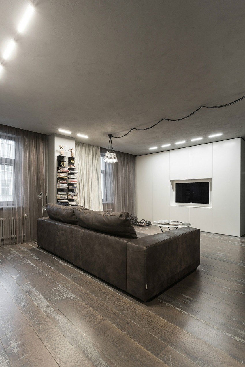 gray leather sofa images sofas comprar bilbao modern, rustic and industrial meet in a chic moscow studio