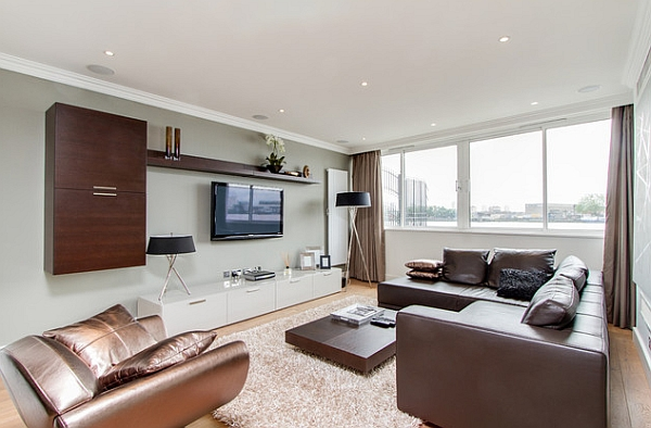 living room media furniture small chandeliers for 20 ways to incorporate wall mounted tvs and shelves into your decor view in gallery