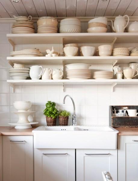 open shelving kitchen Tips for Stylishly Stocking that Open Kitchen Shelving