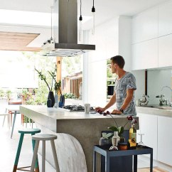 Industrial Kitchen Island White Laminate Cabinets Go Beyond The Common Aesthetics With Concrete Islands