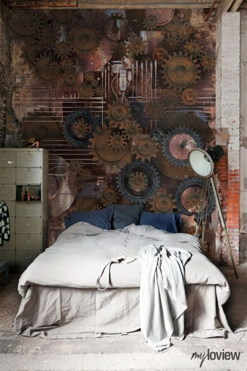 Steampunk Interior Design Bedroom with Gears on Wall Locker Style Dresser Industrial Lighting