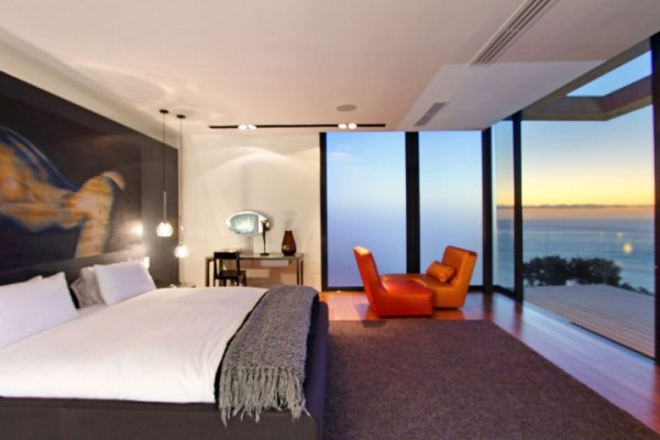 modern bedroom with ocean view Villa Built Into The Mountain With Full Ocean Views From