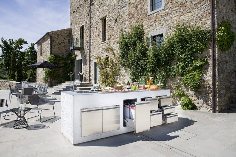 modern outdoor kitchen small space table and chairs step out to enjoy the beauty kitchens ronda