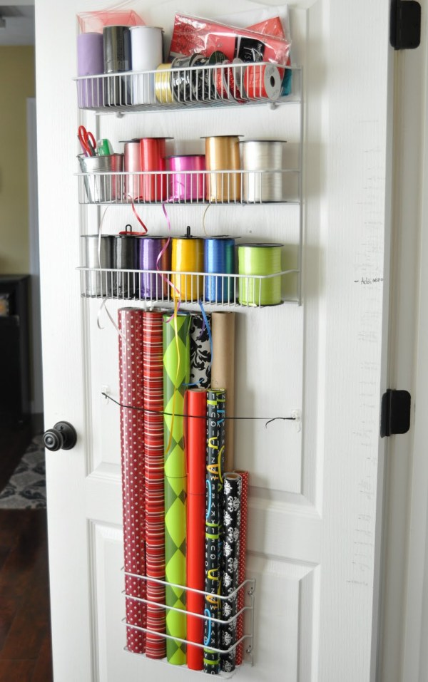 Door Gift Wrapping Paper Organizer