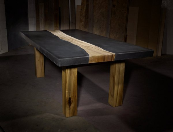 Concrete with Wood Inlay Table