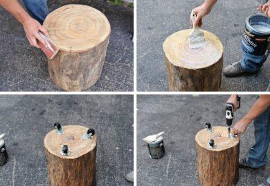 Diy Tree Stump Side Table Homedit