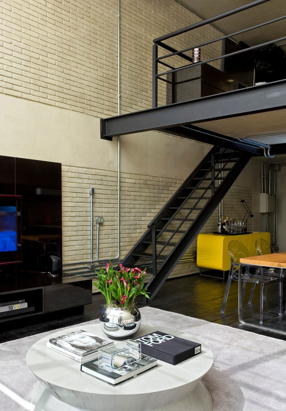 bright colored sofa covers modern style floor chair industrial chic loft features the ideal match between ...