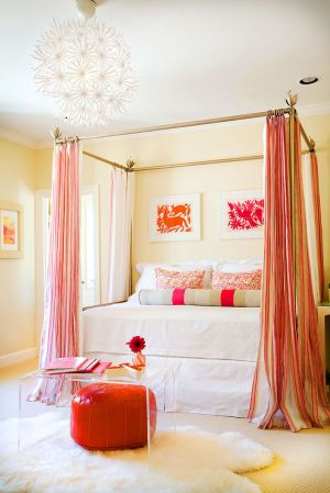 bedroom orange pink schemes combinations bed colors gray designs yellow decorating beige decor homedit scheme rooms curtains canopy colorful interiors