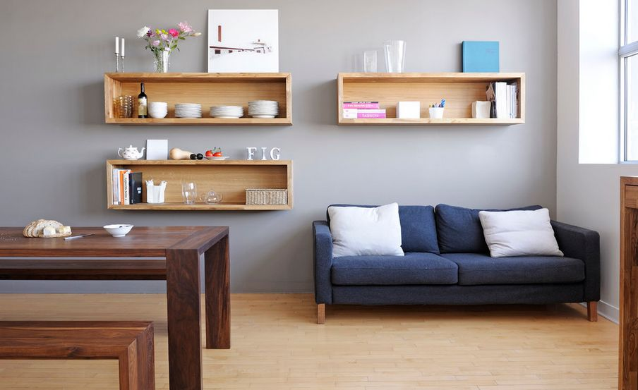 how to decorate living room wall shelves rooms for less mounted box a trendy variation on open designs