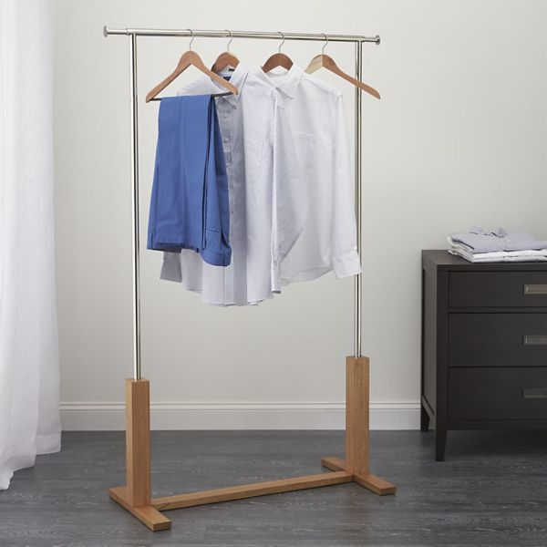 Wardrobe In Check With Freestanding Clothing Racks